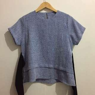 Blue Top with Black Ribbon