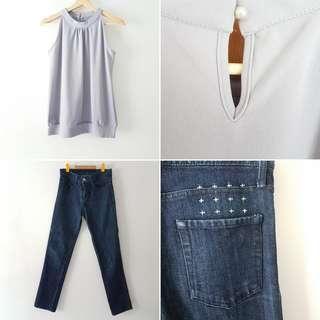 FREE POS Ksubi Dark Wash Denim Jeans with Stitch and Print Details + Halter Neck Sleeveless Blouse in Grey