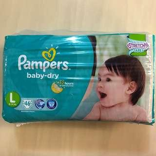 BN 👶🏻PAMPERS👶🏻 46 Piece Baby/ Toddler Dry Stretchy Tape Disposable Diapers (Size: L)