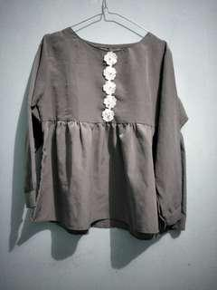 Atasan blouse (drak grey)