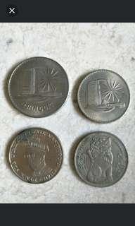 🚚 4 x SINGAPORE & MALAYSIA COINS 1969 & 1971
