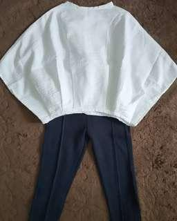 Set Saisae Quirky White Top & Tom Tailor Navy Pants