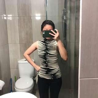 Zebra Turtle Neck Tank Top