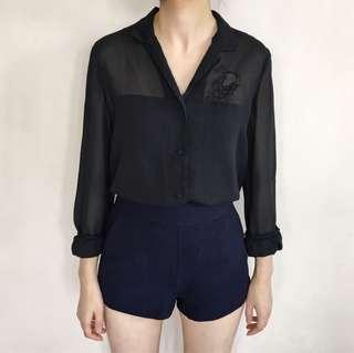 Embroidered Black Shirt