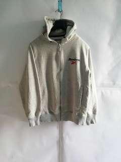 Reebok Small Logo Light Grey Zipper Hoodie S