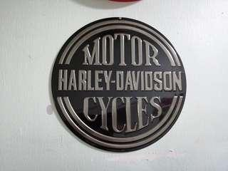 Original Harley-Davidson Embossed Platinum Disc Round Tin Sign