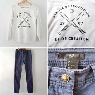 FREE POS H&M Skinny Pants in Navy + French Statement Long Sleeve Sweater Tee in White