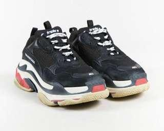 Balenciaga Triple S Oversized Multimaterial Sneakers with Quilted Effect Black/Red