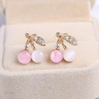 Cherry studs earrings