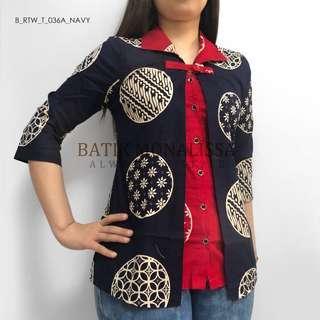Batik 2 Layers Top in Navy & Red