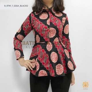 Batik Long Sleeve Top in Black