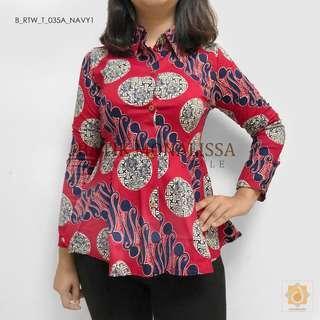 Batik Long Sleeve Top in Red