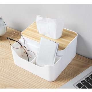 🚚 台灣出貨 zakka 面紙盒 紙巾盒 衛生紙盒 木製餐巾盒 白色 收納盒 三格收納 生活雜貨 原木 OSU02D3