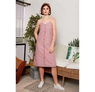 🚚 TSW Leachelle Red & White Midi Stripe Button Down Dress