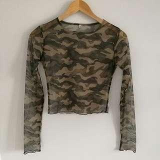 Camo Sheer Long Sleeve Cropped Top