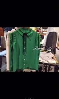 Panda 26 英倫風襯衫 正韓 綠色全新