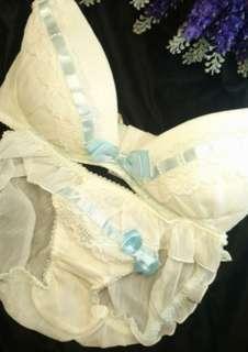 E70 僅存一套 少女 典雅 淡藍 藍色緞帶 成套內衣 全新商品 現貨實拍