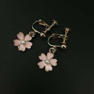 【二手飾品】粉色耳夾耳環