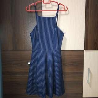 Navy stripes square halter dress