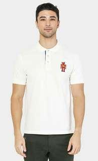 Red Robotto Signature Polo Shirt In Ceramic White #STB50