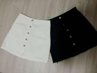 🚚 Button Down Skirt YISHION (white and black)