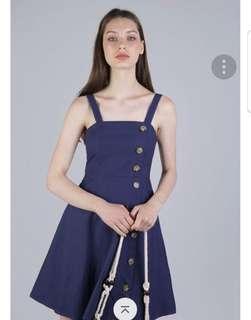 🚚 TTR Nellie Button Flare Dress Dark Blue