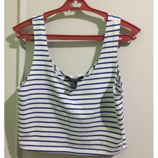 Forever21 Blue and White Striped Crop Top