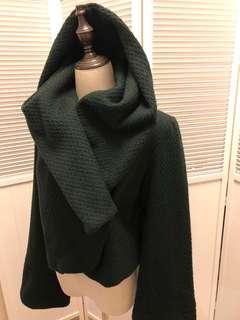 🚚 (古著穿搭🎉🎉8/9成新)Zara 立領軍墨綠毛料單排扣風衣短大衣
