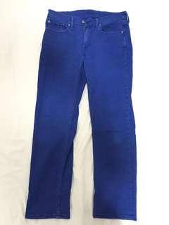 二手 LEVIS 514 彩藍色彈力牛仔褲 ( 實際腰圍 34吋  長度 41吋 )