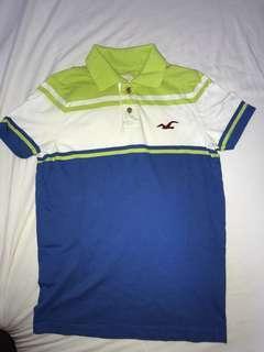 HOLLISTER 白色 綠色 藍色間條短袖T恤 , size S
