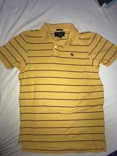 ABERCROMBIE & FITCH 黃紅間條 短袖T恤 , size S