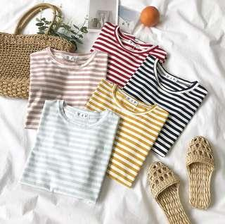 [po] basic ulzzang short sleeve striped top