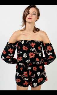 ad15ae77440 White Cove Tall Allover Printed Cold Shoulder Playsuit - Size S ...