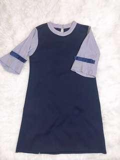 Stripes Navy Korean Dress
