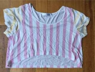 Minkpink Cropped Striped T-Shirt Top