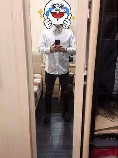 🚚 白色黑點長袖襯衫