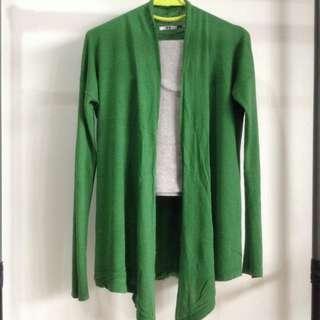 Uniqlo Green Cashmere Blend Long Cardigan