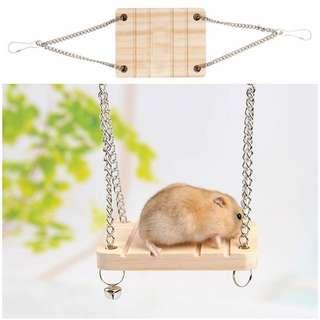 🚚 Wooden Hamster Toy Swing Bell Rat Bird Mouse Exercise Cage Hanging Pet Play