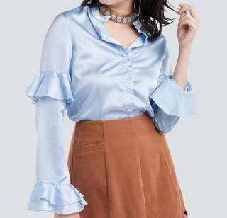 Light blue satin shirt