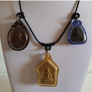 Thai Amulet Accessories: String Art Necklace (Brown) - Adjustable / 3 hooks