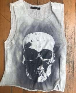 White Singlet/Tank Top with Black/Grey Skull Print