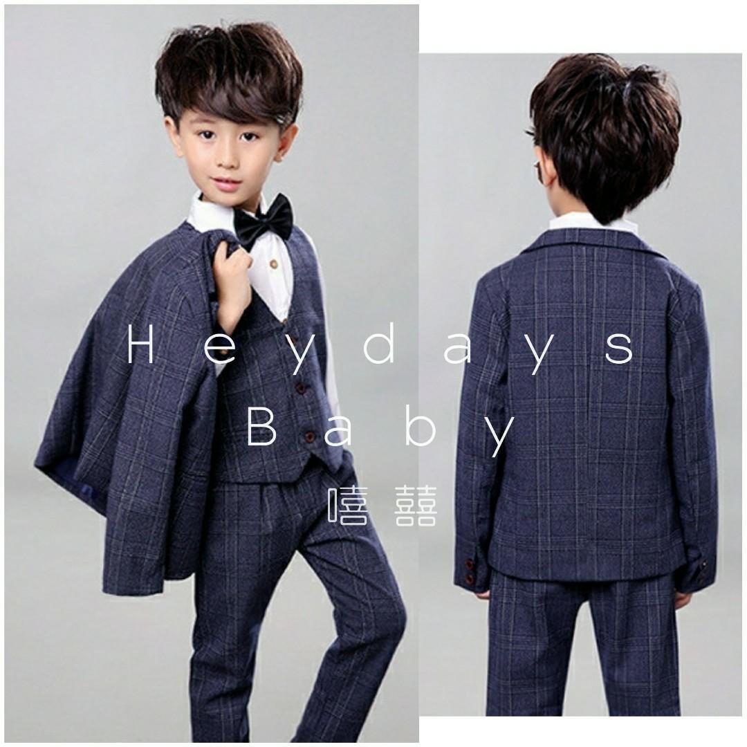 全新格仔紋童裝西裝3 4件套 7-11碼現貨 約90-110cm 包括褸,褲,馬甲 頭5位客人送煲呔 new kids suit set checked
