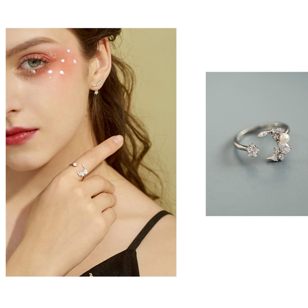 925 Sterling Silver Star + Moon Adjustable Ring with Pearl
