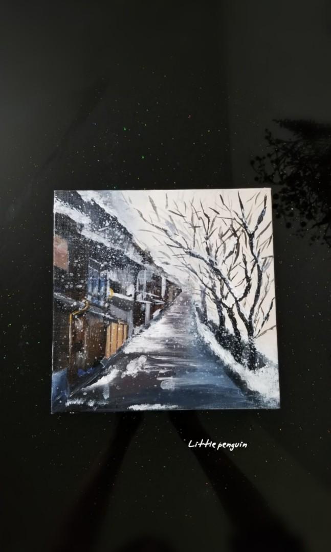 Acrylic painting/畫/日本金沢主計町/20.4x20.4cm