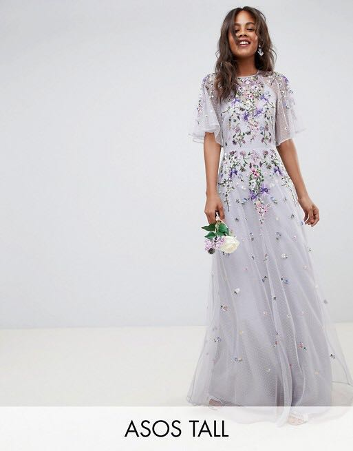 c0a8d6addefc ASOS Tall Floral Embroided Mesh Flutter Sleeve Maxi Dress UK14 ...