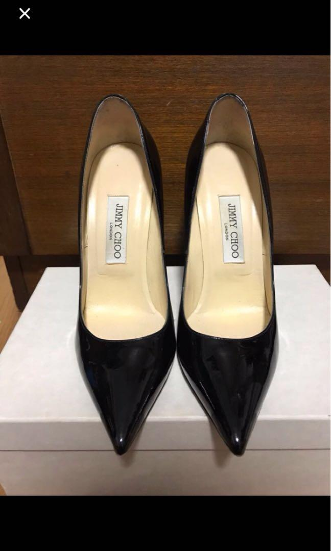 Authentic Jimmy Choo Anouk Black Patent Heels 39