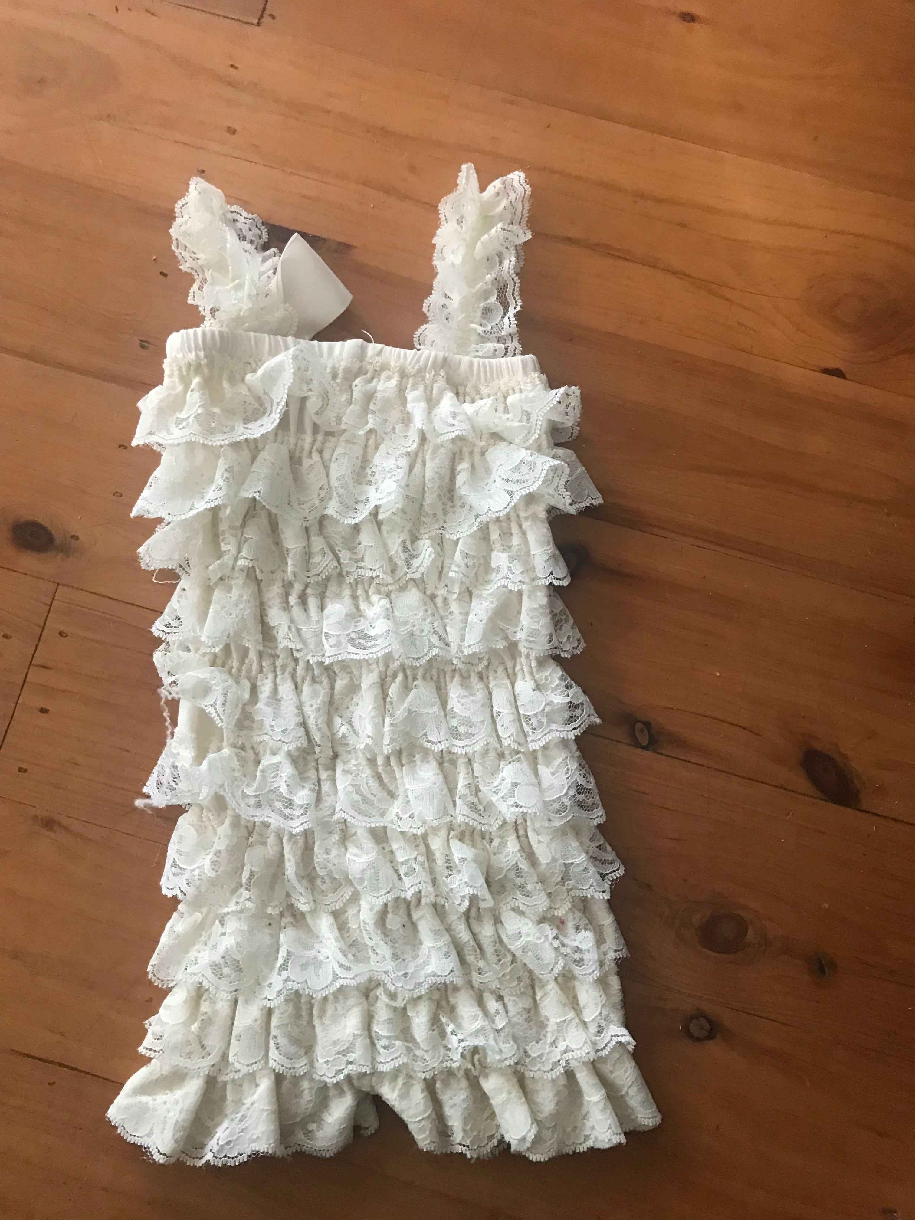 Baby girls frills & lace party wear romper 6 to 12 months