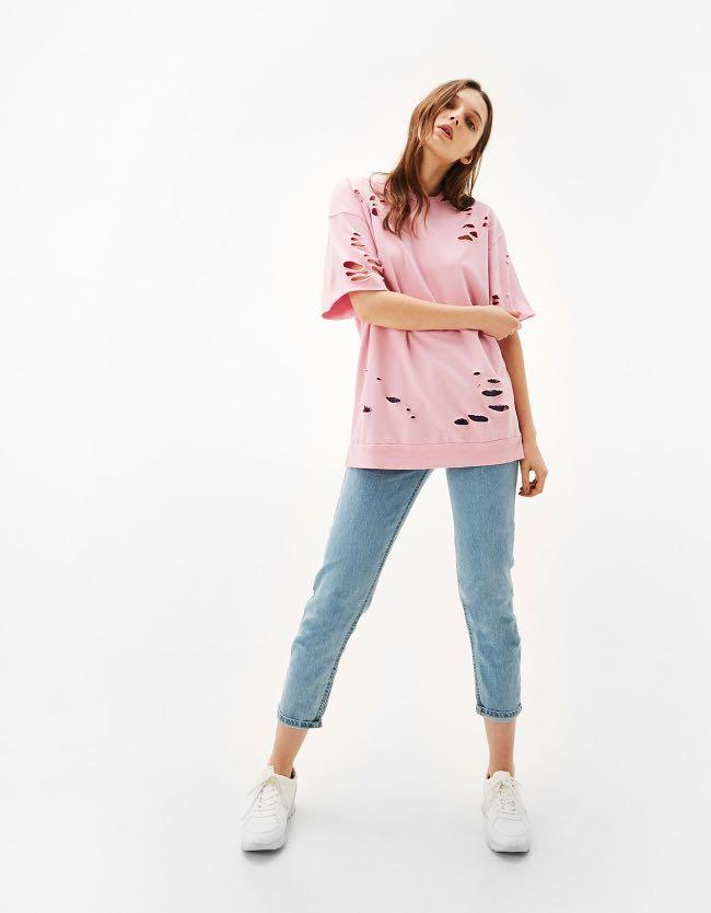 Bershka hollowed t shirt tee pink