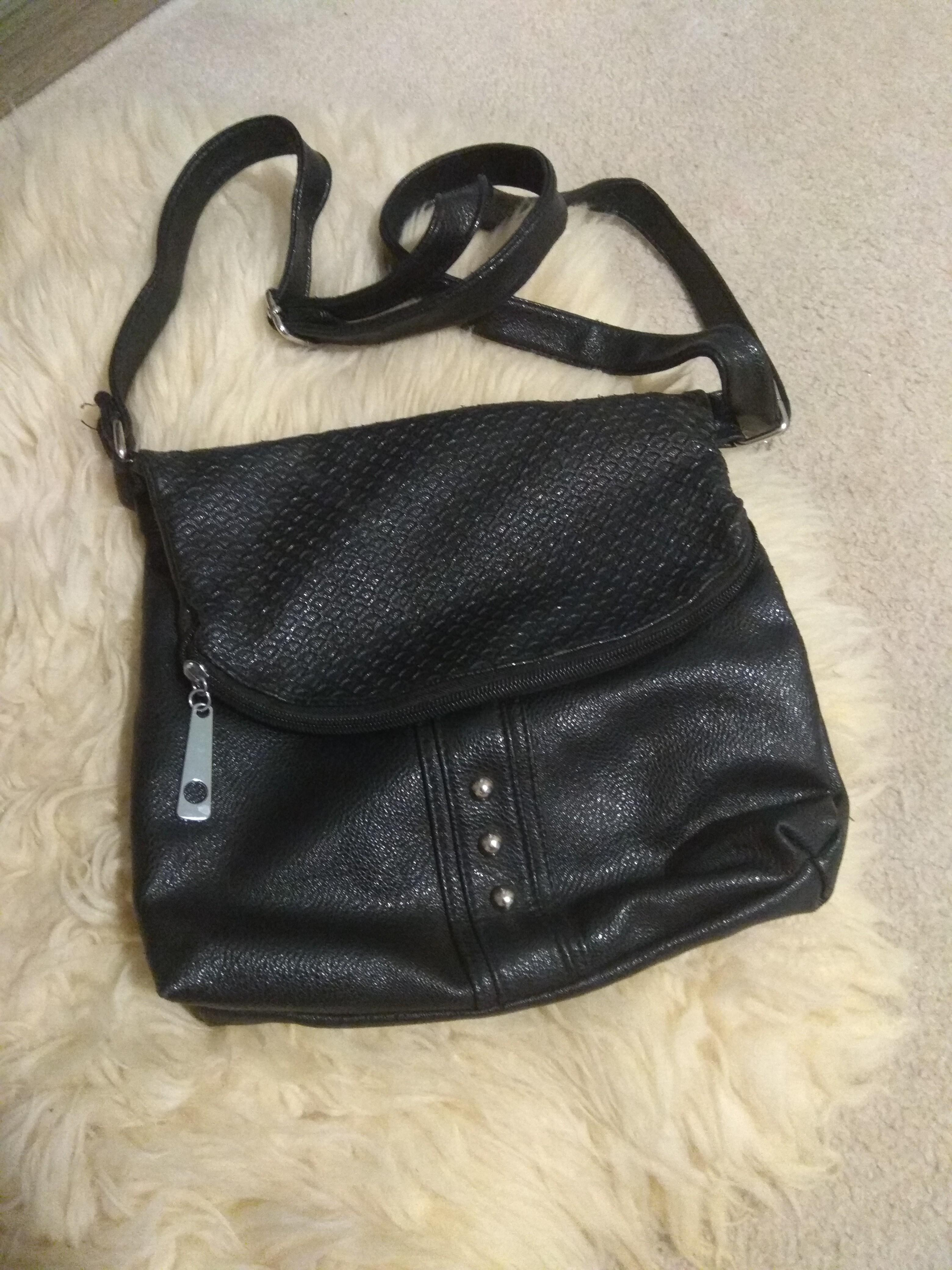 Black and silver stud purse