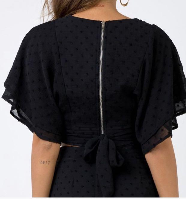 Black embroidered Polka Dot Low Cut Crop Top